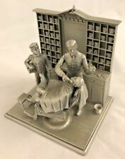 "Metal Pewter 4X5"" Barber Shop Franklin Mint Statute Figurine"