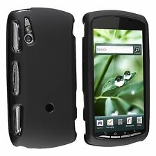 For Sony Ericsson R800i Xperia Play Black Snap-on Rubber Hard Cover Case NEW