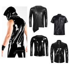 Men's Latex Leather Vest Tops T-Shirt Gym Muscle Crop Top Undershirt Clubwear
