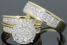 Trio Engagement Wedding Ring Band Set 14K Yellow Gold 1.50Ct Men Women Diamond