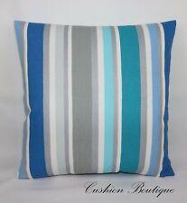 """Designers Guild Monticello Blue White Silver  Striped Cushion Cover 17""""x17"""""""