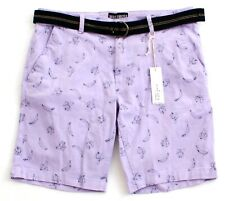 Knickerbocker Purple Banana Print Stretch Casual Shorts with Belt Men's NWT