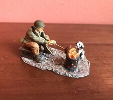 Vintage King and Country Soldier, Yanks, WWII GI Cooking A Hot Dog With A Puppy