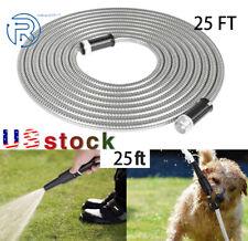 New 25 Ft Stainless Steel Metal Garden Water Hose Pipe Flexible Lightweight