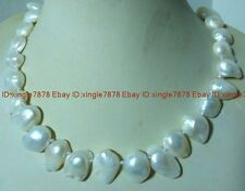 NATURAL REAL White 8x12mm SOUTH SEA  BAROQUE PEARL NECKLACE 18''