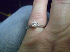 14K White Gold Ladies Round Diamond Solitaire Ring     2.3 grams