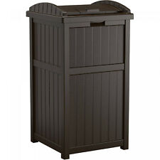33-Gallon Outdoor Resin Trash Can Garbage Waste Bin With Lid Patio Deck Brown
