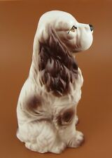 "Vintage Spaniel Dog Figurine Sitting 8"" Bown and White"
