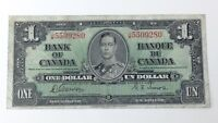 1937 Canada 1 One Dollar JM Prefix Canadian Circulated Treated Banknote G208