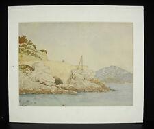 G Jullien 1892 acuarela original la costa Mediterráneo Mar Mediterráneo