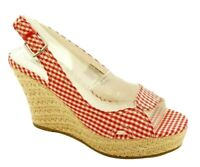 American Eagle Sandals Size 9 Women Red Gingham Sling back Wedges Open Peep Toe