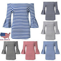 Fashion Women Sexy Summer Off Shoulder Flared Sleeve Stripe Shirt Top Blouse US
