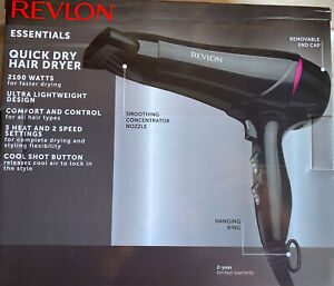Revlon Quick Dry Hair Dryer Ultra Lightweight Design 2100 Watts 3 Heat Setting