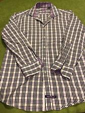 English Laundry Mens Purple Plaid w Purple Contrast Cuff Shirt 15.5 -32/33