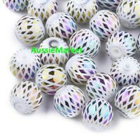 40 x loose glass beads 8mm white with ab colour jewellery jewelry making crafts