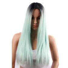 Long Straight Synthetic Wigs Ombre Green Women Wigs Heat Resistant Cosplay Party