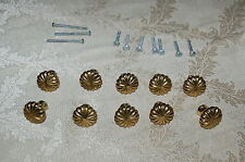 """Lot 10 flower SOLID Brass 1 1/8"""" Cabinet Knobs Pulls w OPTIONAL back plates*"""