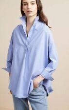 NWT French Connection Bega Blue Stripe Dip Hem Poplin Shirt Size M