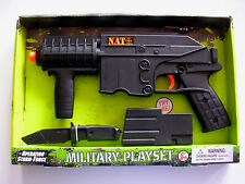 "NATO ® 14"" Toy Machine Gun action Mag knife play set Sounds Battery operated USA"