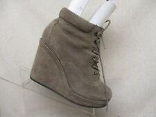 Topshop Beige Suede Platform Wedge Ankle Fashion Boots Bootie Size 36 EUR