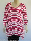 Autograph Ladies 3/4 Sleeve Stripe Tunic Top sizes 14 16 18 20 22 24 Colour Pink