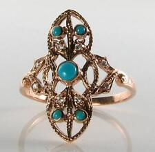LOVELY LONG 9K 9CT ROSE GOLD TURQUOISE DIAMOND ART DECO INS RING  FREE SIZE
