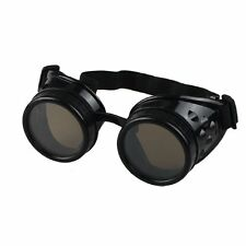 Steampunk Goggles Black with Brown Lenses Cyber Vintage Retro Welding Glasses