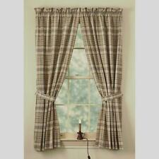 Country Thyme Panel Curtains 72WX63L Burgundy Green Tan Ivory Plaid Cotton