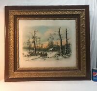 Vtg Antique ORNATE Frame 1895 Print A WINTER IN NEW ENGLAND Horse Sleigh