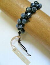 Chan Luu Bracelet Wrap Two Row Sodalite Blue on Black Leather Silver Button NWT