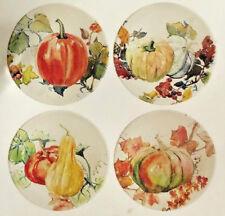 "Pumpkin Squash Appetizer Tidbit Melamine Plates 7"" set of 4 Thanksgiving Harvest"