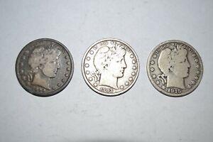 3 US Barber Half ½ Dollars 1899-P, 1903-P, 1915-S
