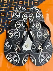 NWT Tory Burch PVC Flip Flop Flops Thong Sandals Black Mixed Logo MANY SIZES