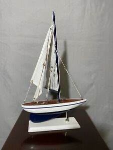 Vintage Nautical Lake Beach Decor Wooden Model Sailboat Cloth Fabric Sails