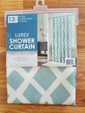 Lurex Shower Curtain Lattice Aqua lattice Nip w/ 12 hooks metallic thread