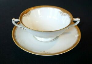 Beautiful H & C Selb Hienrich Gold Rimmed Christina Cream Soup Bowl And Saucer