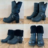 Clarks Narrative Pilico Place Black Leather Boot Fur Wool Lined Warm Buckle UK 7