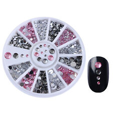 Rhinestones 3D Nail Art Decoration in Wheel Pink Clear Grey Mixed Size Manicure