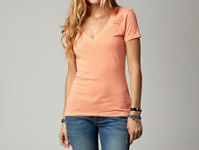 Fox Racing Fox Girl White Noise Vneck Tee Shirt Day Glo Orange (Large)