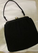 Vintage Black Satin Evening Purse ~ Pearl & Rhinestone clasp ~ silk lining more