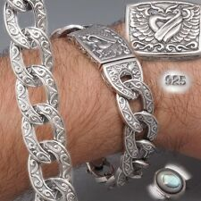 """8"""" 69g HEAVY CURB LINK HEART WING 925 STERLING SOLID SILVER MENS BRACELET PRE"""