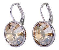 Swarovski Elements Crystal Golden Shadow Bella Earrings Rhodium Authentic 7170z