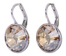 Swarovski Elements Crystal Golden Shadow Bella Pierced Earrings Rhodium 7170y