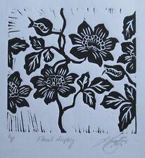 """LYNN KEATING AUSTRALIAN BLACK INK LINOCUT EMBOSSED """"FLORAL DISPLAY"""" 2014"""