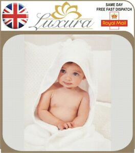 New Luxury Pure Cotton Unisex Newborn Baby Hooded Towel Premium Shower Gift Bath