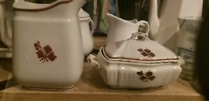 Antique Royal Ironstone Alfred Meakin Stamped Tea Leaf Sugar Bowl 1883 - 1913