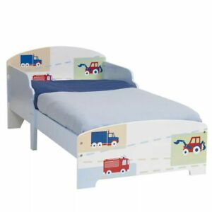 Worlds Apart Toddler Bed Kids Children Cot Trucks and Tractors White WORL230006