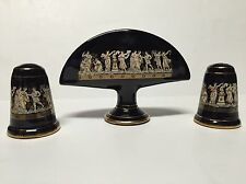 "Vtg ""Terracotta Hand Made in 24 K Gold"" table set - Greece black gold"
