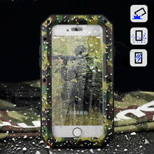 Military Camo Metal Bumper Shockproof Case Cover + Gorilla Glass For iPhone