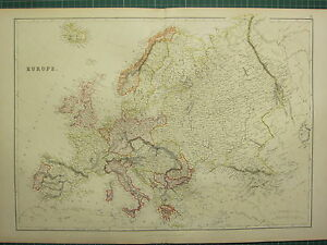 1882 LARGE ANTIQUE MAP ~ EUROPE ~ BRITISH ISLES SPAIN ITALY AUSTRIA GERMANY etc